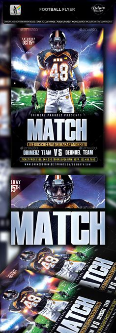 The Football Flyer Flyer template, Template and Party flyer