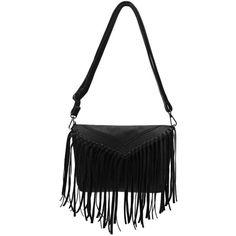 Yoins Yoins Fringe Shoulder Bag ($16) ❤ liked on Polyvore featuring bags, handbags, shoulder bags, malas, yoins, black, black shoulder bag, black leather purse, leather shoulder bag y fringe shoulder bag