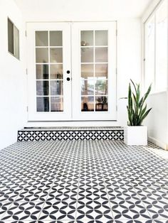 Wow sunroom flooring- black & white cement tile in sunroom Flooring, House Designs Exterior, New Homes, Porch Tile, Exterior Design, Outdoor Tiles, Patio Tiles, Outdoor Flooring, White Exterior Houses