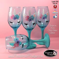 Unicorn crafts Wine Bottles - Hand Painted Wine Glass Teal Unicorn Face Personalized and Custom Painted Wine Glasses, Coffee Mugs & Ornaments Glitter Wine Glasses, Diy Wine Glasses, Decorated Wine Glasses, Hand Painted Wine Glasses, Diy Wedding Wine Glasses, Painting On Wine Glasses, Wine Painting, Wine Glass Crafts, Wine Bottle Crafts