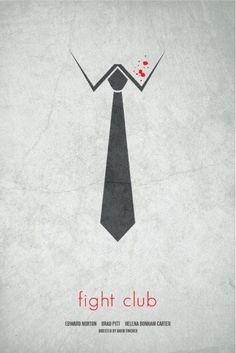 This movie poster is a good example of the use of constrained visual language. The poster use 2D black and white image of a shirt and a tie with some red dot on the shirt as the blood cleanly send the message of fighting to the viewer through the easy and constrained image.
