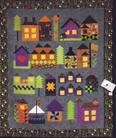 Will you be My Neighbor Block Page Paper Piecing Patterns, Quilt Patterns, Quilting Projects, Sewing Projects, Diy Projects, Quilting Quotes, Farm Quilt, Halloween Quilts, House Quilts