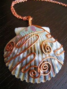 Blue and Purple Shell Pendant Copper by CreeationsStudio on Etsy Isn't this beautiful! Love the wire wrapping and how it complements the shell. Wire Wrapped Jewelry, Wire Jewelry, Jewelry Crafts, Beaded Jewelry, Handmade Jewelry, Jewlery, Copper Jewelry, Pendant Jewelry, Jewelry Dish