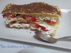 Una diabética en la cocina: Milhojas de nata y fresas apta para diabéticos.