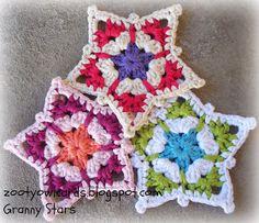 crochet stars ~ free mpattern http://zootyowlcards.blogspot.ie/2014/05/granny-star-pattern.html?m=1