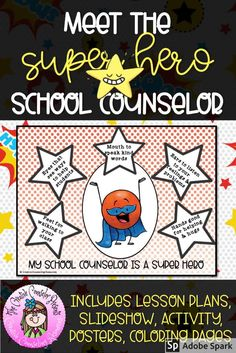 Introduce the role of the school counselor with this fun, superhero super-counselor classroom guidance lesson. Comes with a superhero themed slideshow, superhero activity, super-counselor coloring page and mini poster to leave with the teacher. #SuperHero #SuperCounselor #GuidanceIntroduction #ClassroomGuidance #MeetTheCounselor #CreativeCounselor #CreativeCounselingResources Group Counseling, Counseling Activities, School Counseling, Fun Activities, School Counselor Lessons, Elementary School Counselor, Elementary Schools, Superhero Coloring Pages, Guidance Lessons