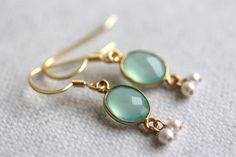 Aqua Chalcedony Earrings, Gold Vermeil Jewelry, Boho Chic Earrings