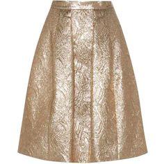 Oscar de la Renta Metallic Wool and Silk-Blend Jacquard Cloqué Skirt ($595) ❤ liked on Polyvore featuring skirts, metallic, oscar de la renta skirt, woolen skirt, oscar de la renta, jacquard skirts and brown wool skirt