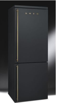 SMEG matte black and brass refridgerator fridge - whoa. New look. Would be gorgeous with all the gold creeping back into kitchens.