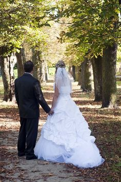 Photo about Just married wedding couple standing in a tree alley in a park; both bride and groom are turned away. Cute Wedding Ideas, Wedding Advice, Wedding Pics, Wedding Couples, Wedding Bells, Perfect Wedding, Wedding Engagement, Dream Wedding, Wedding Day