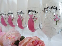 Hand Painted Bridesmaid Wine Glasses - PERSONALIZED to Your Dresses and Flowers - Bridal Party Glassware