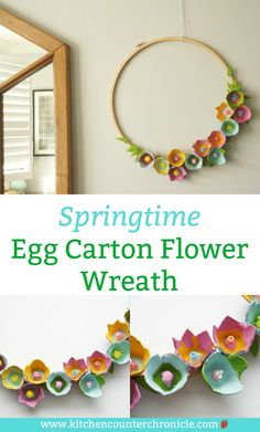 Who knew an egg carton could looks so lovely. A simple spring DIY egg carton wreath covered in beautiful egg carton flowers. diy How to Make a Beautiful Egg Carton Wreath with Egg Carton Flowers Egg Carton Art, Egg Carton Crafts, Spring Art, Spring Crafts, Fun Crafts, Crafts For Kids, Easter Crafts For Adults, Arts And Crafts For Adults, Crafts For The Home