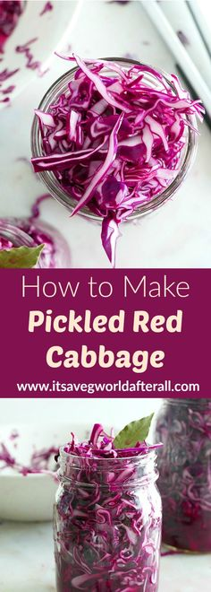 Pickled Red Cabbage - learn how to make your own pickled red cabbage, a tangy and versatile fridge staple! #itsavegworldafterall #homepickling