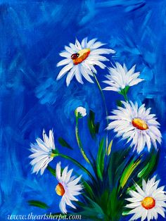 Spring White Daisy with lady bug Abstract acrylic Floral for The Art Sherpa on Youtube. Free tutorial