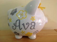 Personalized Large yellow/ grey flowers with crystals  Piggy  Bank Newborns , Birthday,Girls,Flower Girl,Baby Shower Gift Centerpiece by KUTEKUSTOMKREATIONS on Etsy