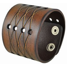 A cross-cut design blends into circular holes to form this unique men's cuff bracelet. Designed by Nemesis, this handsome brown leather bracelet easily secures with a convenient snap-on clasp. Details