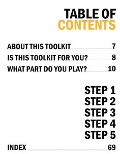 Love this simple block design for a Table of Contents #ClippedOnIssuu from Hackable Cities: A Toolkit for Re-Imagining Your Neighborhood