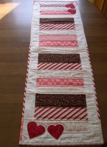 quilted Valentines table runner