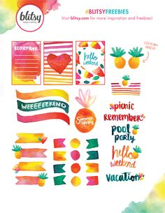 Free Summer Watercolor Planner Stickers
