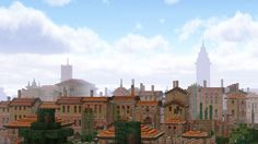 the skyline of Tivoli with the towers of the city hall and cathedral rising out
