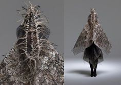 Maria Fernanda Cardoso created the series of garments/costumes from an emu entitled 'Emu Wear' as part of an ongoing 'Animals in Art' series. The Colombian born artist living in Australia used feathers and body parts of this native bird to create new meanings to the form of the creature both elegantly and simply, exploring notions of cultural indentity and histor