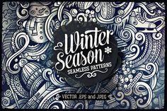 Winter Doodles Patterns by balabolka on @creativemarket