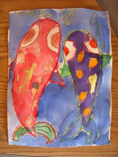 Koi, watercolor - 1st Grade