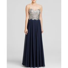 Aqua Gown - Embellished Bustier Tie-Back (6,015 MXN) ❤ liked on Polyvore featuring dresses, gowns, navy, navy blue strapless dress, navy dress, strapless gown, navy blue ball gown and navy blue dress