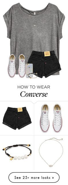 """""""let me love you.."""" by arieannahicks on Polyvore featuring H&M, TOUS, Kendra Scott and Converse"""