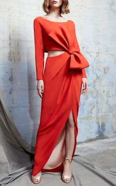 Satin Cut Out Bow Gown by Paule Ka