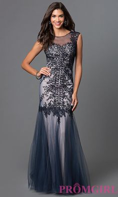 Embroidered Long Prom Dress by Elizabeth K