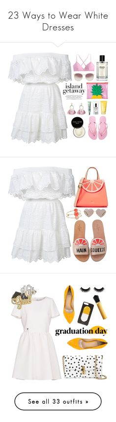 """""""23 Ways to Wear White Dresses"""" by polyvore-editorial ❤ liked on Polyvore featuring whitedresses, waystowear, LoveShackFancy, Sunnylife, Linda Farrow, J.Crew, SUGARFIX by BaubleBar, Clinique, Bobbi Brown Cosmetics and Havaianas"""