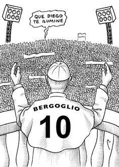 En el cartón de Perujo: Bergoglio, camiseta 10