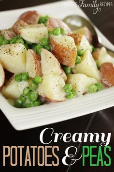 I loved these creamy potatoes & peas as a side dish when we were growing up. Of course it tastes best with fresh, garden peas (you will want to blanch them first) but frozen peas work fine too.