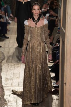 Absolutely Stunning Renaissance Antique Gold with Pearl Gown with a Hint of White Off the Shoulder by Valentino, Look #42