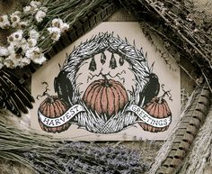 Harvest Greetings by Adrienne Rozzi // Poison Apple Printshop