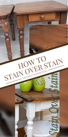 Here are some tips and tricks to stain over stain when you dont want to totally strip a piece down to get an updated loo Diy Furniture Videos, Diy Furniture Plans, Furniture Projects, Furniture Makeover, Diy Furniture Refinishing, Stripping Wood Furniture, Whitewashing Furniture, Farmhouse Furniture, Dark Wood Furniture