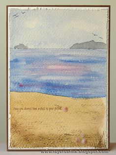 Anna-Karin's Layers of ink: Watercolour beach painted with watercolours on watercolour paper, using a white wax crayon for a resist effect on the water.