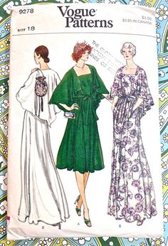 Vogue 9278 Vintage 1970s Womens Cape Dress Pattern by Fragolina