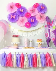 Whimsical butterfly party theme for baby shower or birthday celebration for baby girls. This pretty Purple and Pink Party Kit has a variety of decorations and matching tableware set for an unforgettable party.