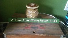 A True Love Story Never Ends Hand Painted Wood Shelf Sitter by SignsandDesignsbyAMA on Etsy