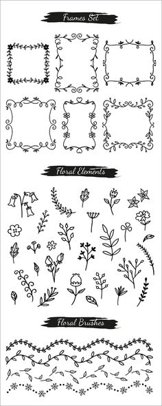 Nature clipart and frame 1 Doodle Lettering, Journal Design, Doodle Drawings, Bullet Journal Inspiration, Book Journal, How To Draw Hands, Letters, Writing, Banners