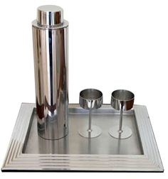 Norman Bel Geddes (1893–1958) designed this American art deco cocktail set in 1936 for Revere Copper and Brass Company.