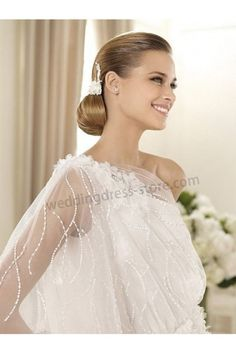 Tulle Flutter One Sleeve Strap with Sequins Decorations Bodice Wedding dress S0427