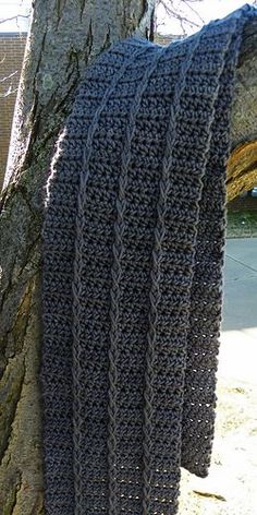 Crochet Smokey Ridges Scarf free pattern.