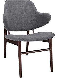 LexMod Cherish Wood Lounge Chair, Dark Gray ❤ Lexington Modern