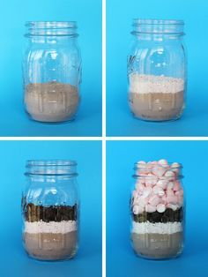 North Pole Survival Kit :: Hot Coco in a Can Hot coco with peppermint, chocolate chips, and marshmallows in a mason jar. Mason Jars, Mason Jar Meals, Mason Jar Gifts, Meals In A Jar, Homemade Christmas Gifts, Great Christmas Gifts, Christmas Treats, Homemade Gifts, Holiday Gifts