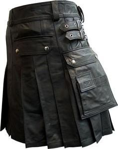 Mens 100% Pure Leather Gladiator Pleated Kilt LARP With Choice of Length | eBay