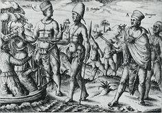 Hollandse kooplieden doen hier zaken aan de Afrikaanse westkust. Een tolk bemiddelt bij de (ruil)handel. Illustratie uit een zeventiende-eeuwse beschrijving van Guinea.