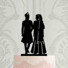 Hindu wedding cake topper , Sikh bride and groom silhouette cake decor, Pakistan wedding cake topper, Custom cake topper Gay Wedding Cakes, Indian Wedding Cakes, Wedding Cake Decorations, Custom Wedding Cake Toppers, Personalized Cake Toppers, Wedding Topper, Bride And Groom Silhouette, Silhouette Cake, Pakistan Wedding